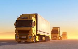 Trucks in the desert.